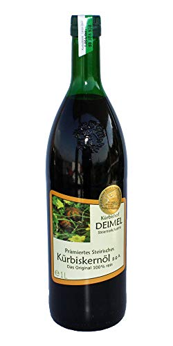 1000ml Original Steirisches Kürbiskernöl g.g.A. vom Kürbishof DEIMEL - Mit Herkunftsgarantie - Direkt von uns als Erzeuger geliefert - Jährlich prämierter Kürbiskernölerzeuger - 1