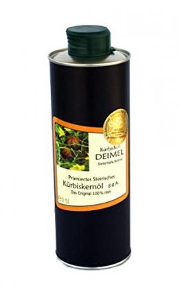 500ml Dose Original Steirisches Kürbiskernöl ggA. vom Kürbishof DEIMEL - Mit Herkunftsgarantie - Direkt von uns als Erzeuger geliefert - Jährlich prämierter Kürbiskernölerzeuger - 1