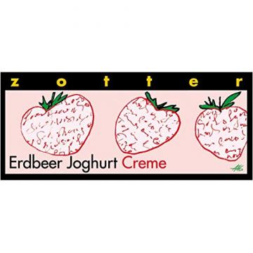 Zotter Joghurtschokolade mit Erdbeercreme, handgeschöpft (70 g) - Bio - 1