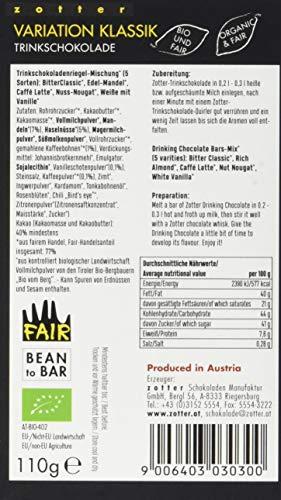 Zotter Variation Klassik (Bitter Classic, Edel-Mandel, Cafe Latte, Nuss-Nougat, Weiße mit Vanille) 1er Pack (1 x 110 g) - Bio - 5